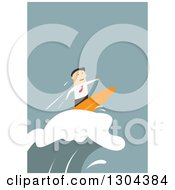 Clipart Of A Flat Modern White Businessman Surfing A Wave Over Blue Royalty Free Vector Illustration by Vector Tradition SM