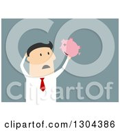 Clipart Of A Flat Modern White Businessman Discovering An Empty Piggy Bank Over Blue Royalty Free Vector Illustration