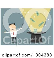Clipart Of A Flat Modern White Businessman Wizard Doing A Money Trick Over Blue Royalty Free Vector Illustration