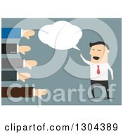 Clipart Of A Flat Modern White Businessman Speaking With Hands Giving Thumbs Down Over Blue Royalty Free Vector Illustration by Vector Tradition SM