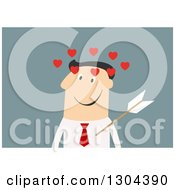 Flat Modern White Businessman Struck With Cupids Arrow Over Blue