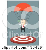 Clipart Of A Flat Modern White Businessman Parachuting With Money And Landing On A Target Over Blue Royalty Free Vector Illustration