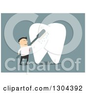 Clipart Of A Flat Modern White Businessman Brushing A Giant Tooth Over Blue Royalty Free Vector Illustration