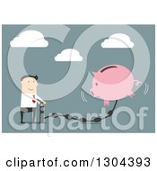 Clipart Of A Flat Modern White Businessman Pumping Money Into A Piggy Bank Over Blue Royalty Free Vector Illustration