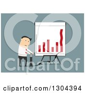 Flat Modern White Businessman Trying To Pump Up A Bar Graph Over Blue