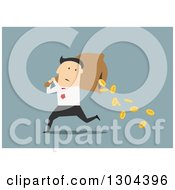 Clipart Of A Flat Modern White Businessman Running With A Spilling Money Bag Over Blue Royalty Free Vector Illustration