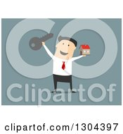 Flat Modern White Businessman Or Realtor Holding A House And Key Over Blue