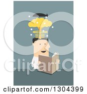 Clipart Of A Flat Modern White Businessman Reading A Mind Blowing Article Over Blue Royalty Free Vector Illustration