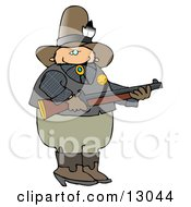 Cowboy Sherrif Holding A Rifle Clipart Illustration