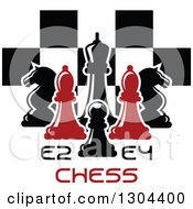 Clipart Of Red And Black Chess Pieces Against A Checker Board Over Text Royalty Free Vector Illustration