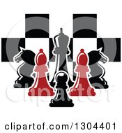 Clipart Of Red And Black Chess Pieces Against A Checker Board Royalty Free Vector Illustration by Vector Tradition SM
