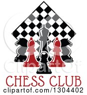 Clipart Of Red And Black Chess Pieces Against A Diamond Checker Board Over Text Royalty Free Vector Illustration