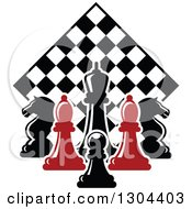 Clipart Of Red And Black Chess Pieces Against A Diamond Checker Board Royalty Free Vector Illustration by Vector Tradition SM