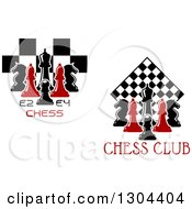 Clipart Of Red And Black Chess Pieces And Boards Over Text Royalty Free Vector Illustration