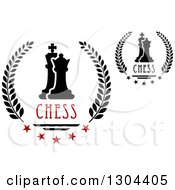 Clipart Of Laurel Wreaths With Chess Kings And Pawns Stars And Text Royalty Free Vector Illustration