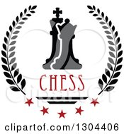 Clipart Of A Black And White Chess Pawn And King In A Laurel Wreath With Red Stars And Text Royalty Free Vector Illustration