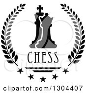 Clipart Of A Black And White Chess Pawn And King In A Laurel Wreath With Stars And Text Royalty Free Vector Illustration by Vector Tradition SM