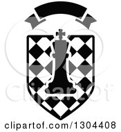 Clipart Of A Black And White Outlined Chess King Piece Over A Checkered Shield With A Blank Banner Royalty Free Vector Illustration