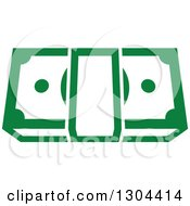 Clipart Of A Green Bundle Of Cash Money 3 Royalty Free Vector Illustration