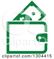 Clipart Of A Green Wallet With Cash Money Royalty Free Vector Illustration