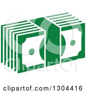 Clipart Of A Green Bundle Of Cash Money Royalty Free Vector Illustration