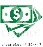 Clipart Of Green Cash Money Royalty Free Vector Illustration