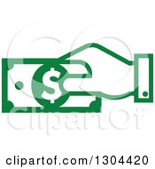 Clipart Of A Green Hand Paying With Money Royalty Free Vector Illustration by Vector Tradition SM