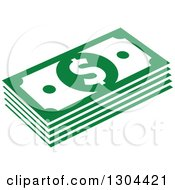 Clipart Of Green Cash Money 4 Royalty Free Vector Illustration by Vector Tradition SM