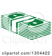 Clipart Of A Green Bundle Of Cash Money 2 Royalty Free Vector Illustration by Vector Tradition SM