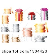 Clipart Of 3d Stacks Of Coins Royalty Free Vector Illustration