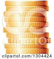Clipart Of A 3d Stack Of Golden Coins 2 Royalty Free Vector Illustration