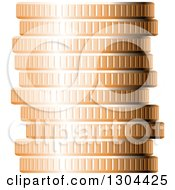 Clipart Of A 3d Stack Of Copper Coins 2 Royalty Free Vector Illustration