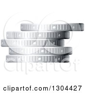 Clipart Of A 3d Stack Of Silver Coins 3 Royalty Free Vector Illustration