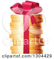 Clipart Of A 3d Stack Of Golden Coins With A Red Gift Bow Royalty Free Vector Illustration