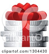 Clipart Of A 3d Stack Of Silver Coins With A Red Gift Bow Royalty Free Vector Illustration