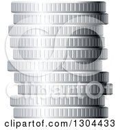 Clipart Of A 3d Stack Of Silver Coins Royalty Free Vector Illustration