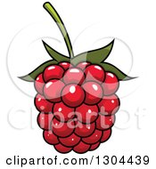 Clipart Of A Cartoon Shiny Raspberry Royalty Free Vector Illustration