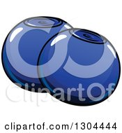 Clipart Of Cartoon Shiny Blueberries Royalty Free Vector Illustration