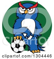 Clipart Of A Cartoon Blue Sporty Owl Resting A Foot On A Soccer Ball Over A Green Circle Royalty Free Vector Illustration