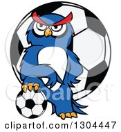 Clipart Of A Cartoon Blue Sporty Owl Resting A Foot On A Soccer Ball Over A Giant Ball Royalty Free Vector Illustration