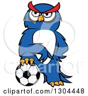 Clipart Of A Cartoon Blue Sporty Owl Resting A Foot On A Soccer Ball Royalty Free Vector Illustration by Vector Tradition SM