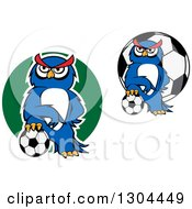 Clipart Of Cartoon Blue Sporty Owls Resting Their Feet On Soccer Balls Royalty Free Vector Illustration
