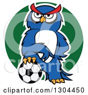 Clipart Of A Cartoon Outlined Blue Sporty Owl Resting A Foot On A Soccer Ball Over A Green Circle Royalty Free Vector Illustration