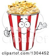 Clipart Of A Presenting Popcorn Bucket Character Royalty Free Vector Illustration by Vector Tradition SM