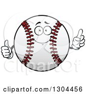 Clipart Of A Cartoon Baseball Character Holding Up A Finger And A Thumb Royalty Free Vector Illustration