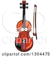 Clipart Of A Cartoon Happy Violin Character And Bow Royalty Free Vector Illustration by Vector Tradition SM
