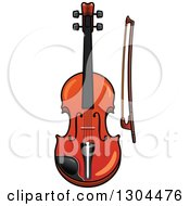 Clipart Of A Cartoon Violin And Bow Royalty Free Vector Illustration