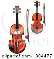 Clipart Of Cartoon Violins And Bows Royalty Free Vector Illustration