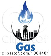 Clipart Of A Black And Blue Natural Gas And Flame Design Over Text 2 Royalty Free Vector Illustration
