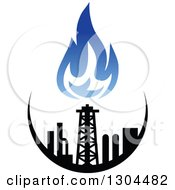 Clipart Of A Black And Blue Natural Gas And Flame Design 3 Royalty Free Vector Illustration